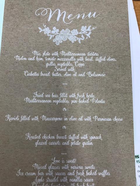 Wedding menu, Table decor with Hessians, wood, grey, brown, green, lilac, Wedding abroad, Mountain wedding lake-side at the Riessersee Hotel Resort Bavaria, Germany, Garmisch-Partenkirchen