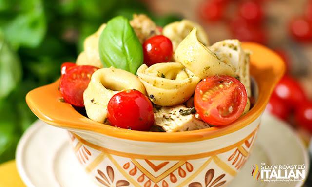 Chicken Pesto Pasta (Tortellini Recipe) ready to serve
