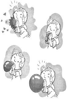 Brincadeiras crianças-soprar balão