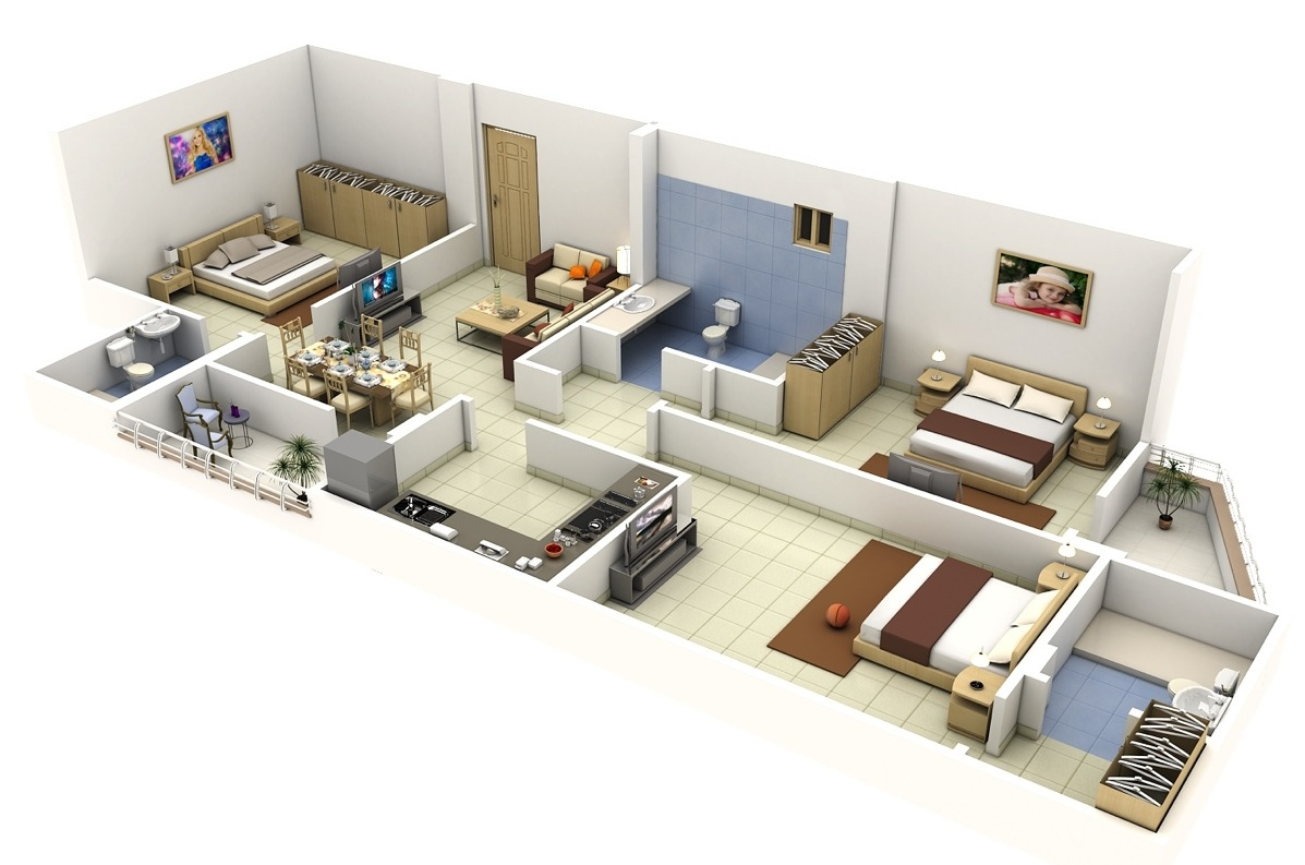 3d 3 bedroom house plans - 3 Bedroom 3d Floor Plans For Long Narrow Apartments