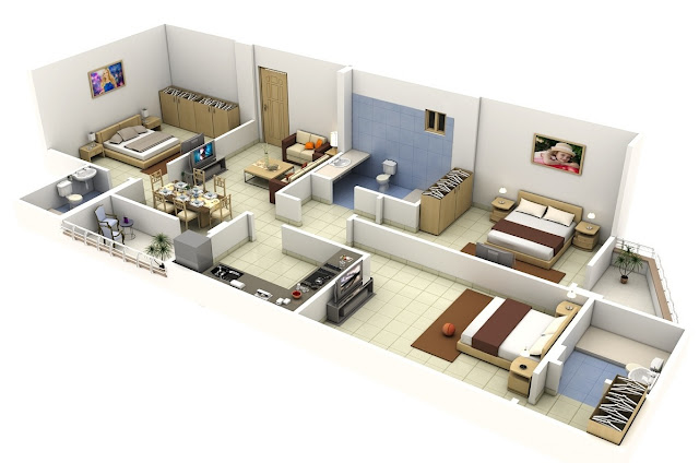 3 bedroom 3D floor plans for long narrow apartments