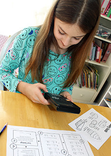Using a calculator was a special treat that made completing this activity even more fun. I was well pleased with how everything turned out. Tessa did very well with it. The concept seemed to click and we both enjoyed sharing our foods picks, savings, and thoughts about what we might buy with the money we saved.