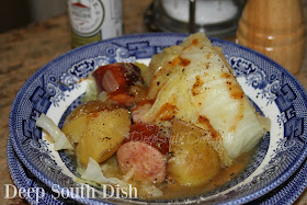 Kielbasa sausage, braised with cabbage, onions and potatoes in chicken broth.