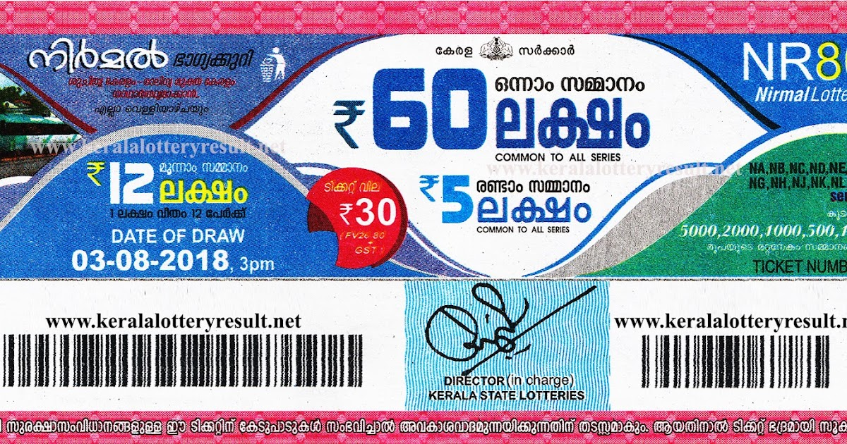 Kerala Lottery Results Today 03.08.2018 Nirmal NR.80