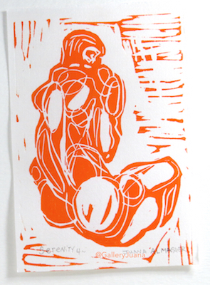 male figure linocut on rice paper