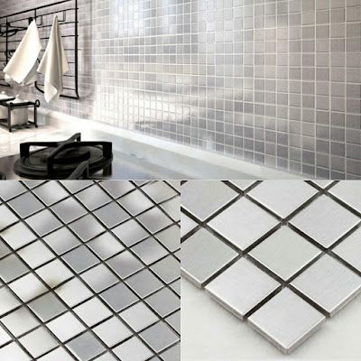 metallic mosaic tile silver stainless steel metal wall decoration tile