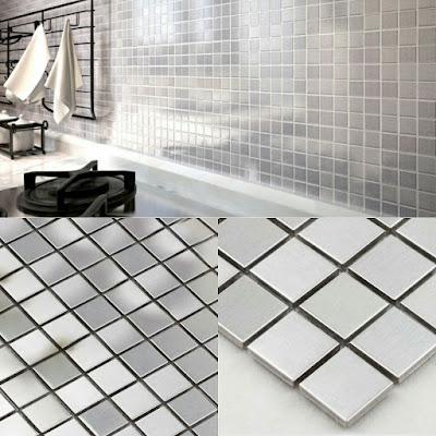 metallic mosaic tile silver stainless steel metal wall decoration tile