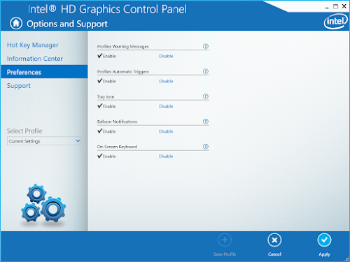 Intel HD Graphics Control Panel enable On Screen Keyboard