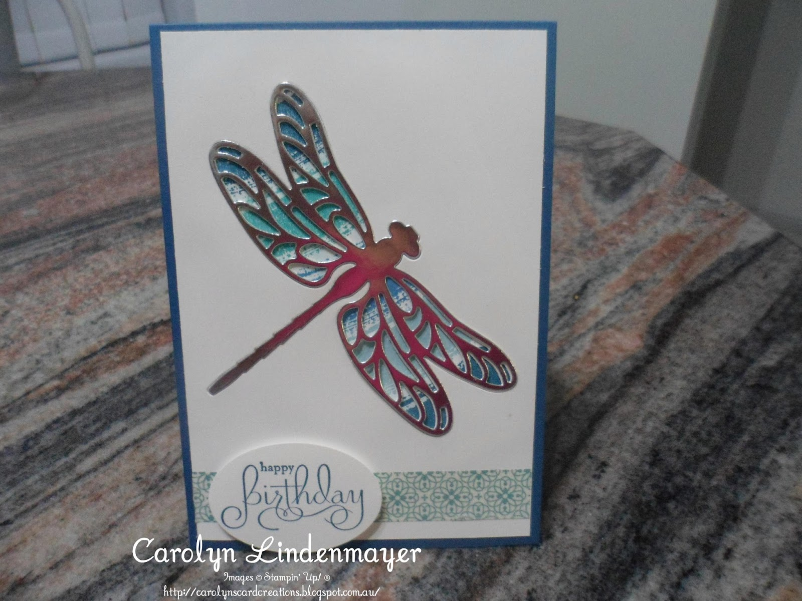 Paper craft crew 226 dragonfly birthday heres a closer look at the dragonfly you can see the colour under the wings of the recessed silver dragonfly diecut jeuxipadfo Gallery