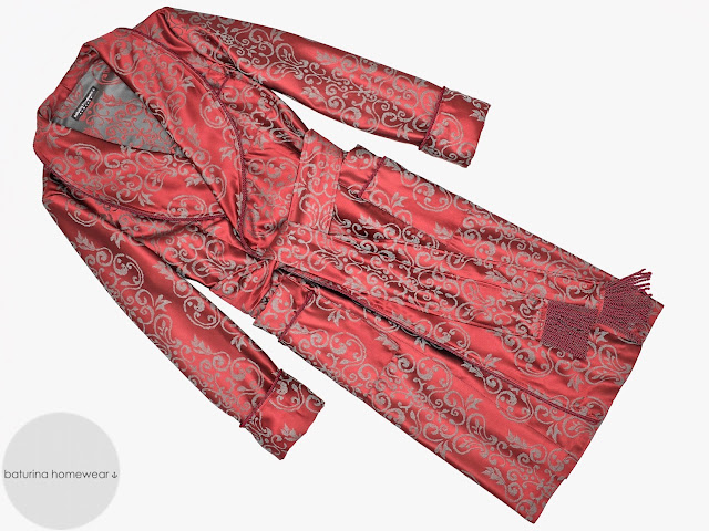 mens red paisley dressing gown cotton robe smoking jacket burgundy