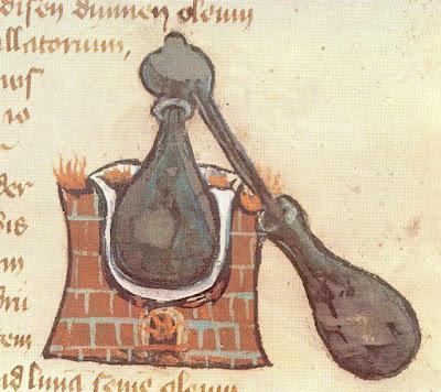 Alambic représenté sur un manuscrit médiéval