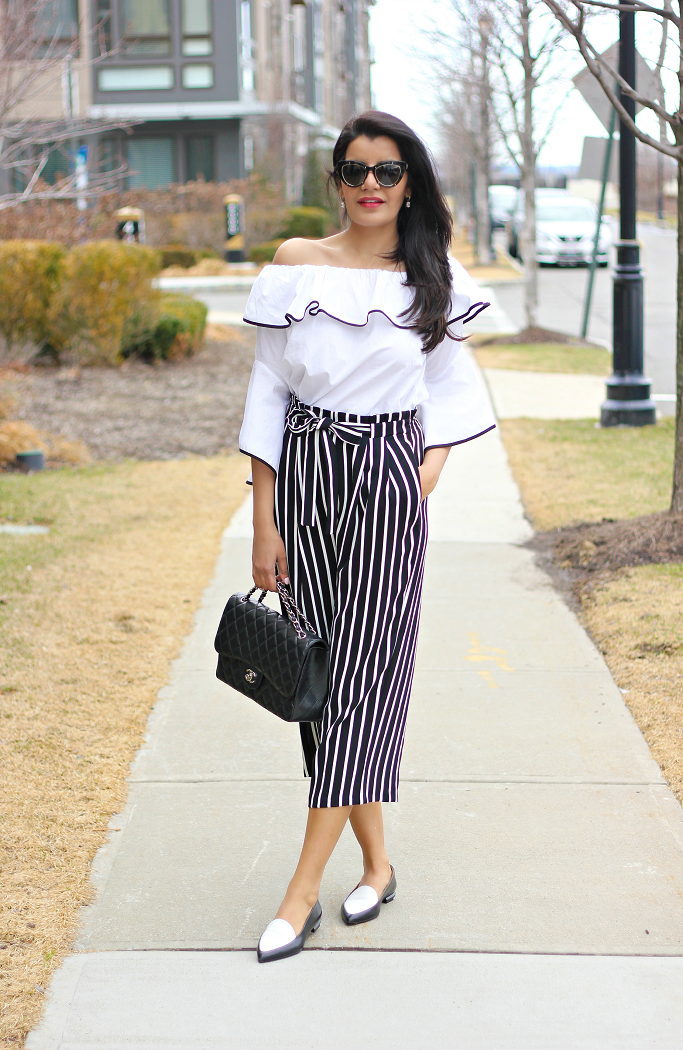 Zara Off The Shoulder Ruffled Sleeve Top, Black And White Striped Culottes, Striped Wide Leg Pants, Zara Culottes, Everlane Modern Point Loafer, Pointy Toe Loafers