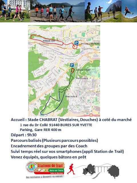 Inauguration de l'Espace Marche Nordique de la Station de Trail de Bures sur Yvette le 9 Avril 2017 - Plan du parcours