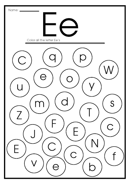 Find letter e worksheet -- printable ESL materials to teach English alphabet