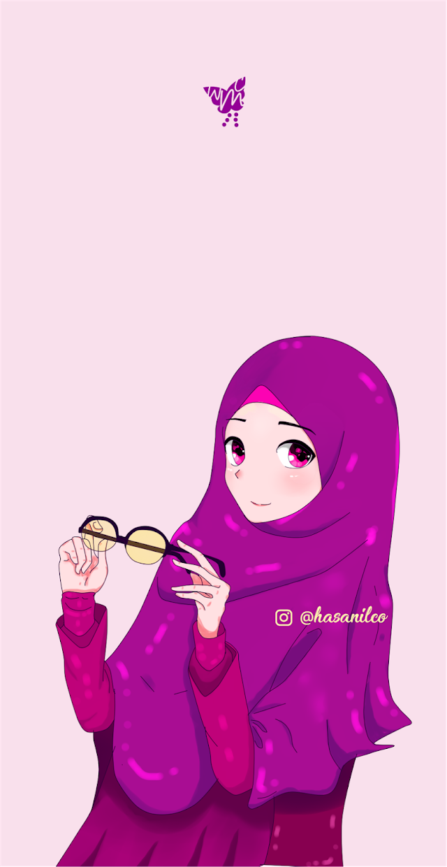 Wallpaper Cute Muslimah Cartoon Picture  Heart Glasses | 005 costum Color