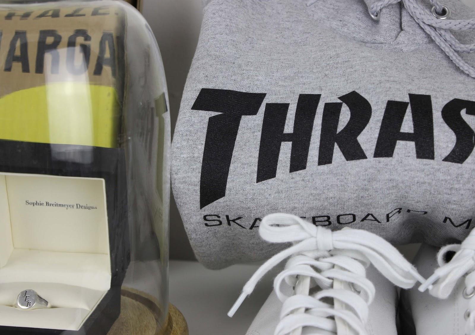 Sophie Breitmeyer designs and Thrasher skateboard magazine from skate pharmacy