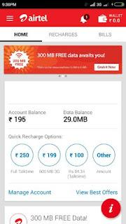 My Airtel app 300MB free 3G Data Trick