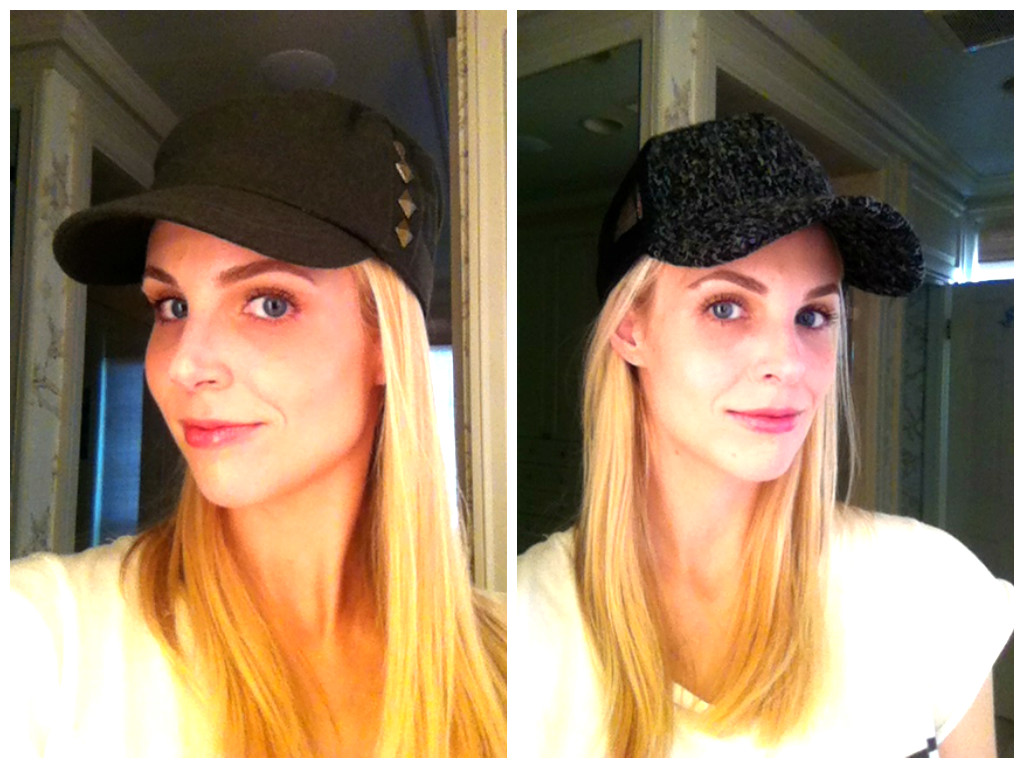 Here I am test-driving Target s take on the baseball cap trend  on the left  is a studded army-green felt cap d7d8142df60