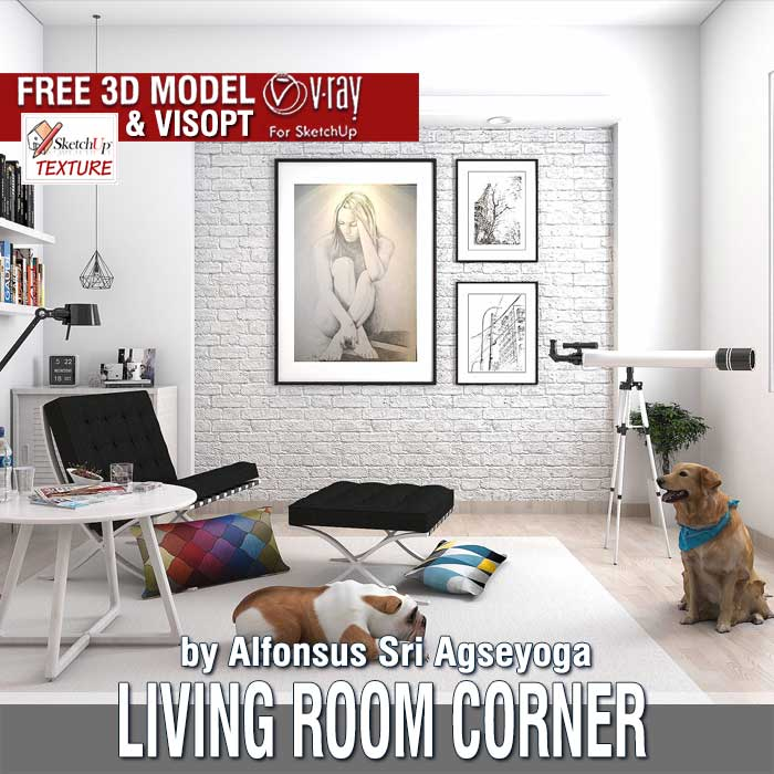 Free Sketchup 3d Model Living Room Corner And Vray Visopt .