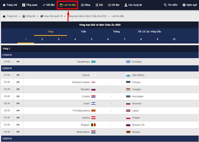 lịch thi đấu vòng loại Euro 2020