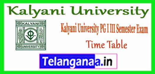 Kalyani University PG 1st 3rd MA M.Sc M.Com MBA MCA B.Ed Semester Time Table 2017
