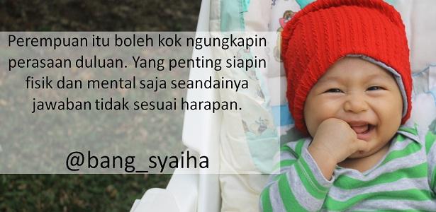 Jika perempuan jatuh hati duluan, perempuan mengungkapkan cinta kepada lelaki, Bang Syaiha, penderita polio, http://bang-syaiha.blogspot.com/