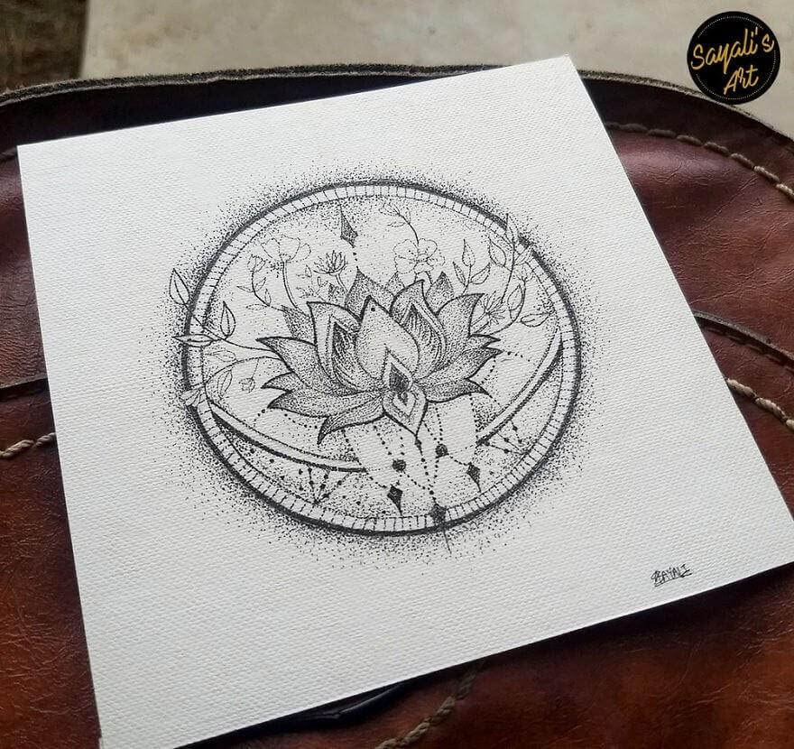03-Calming-Lotus-Sayali-Horambe-Stippling-Dots-and-Creating-Drawings-www-designstack-co