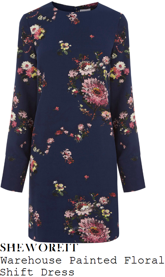 gaby-roslin-warehouse-navy-blue-pink-white-and-multicoloured-painted-floral-print-long-sleeve-shift-mini-dress