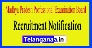 Madhya Pradesh Professional Examination Board VYAPAM Recruitment Notification 2017