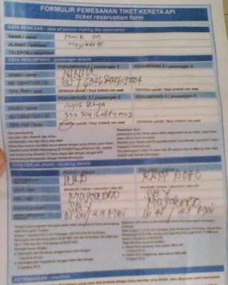 formulir pemesanan tiket kereta api