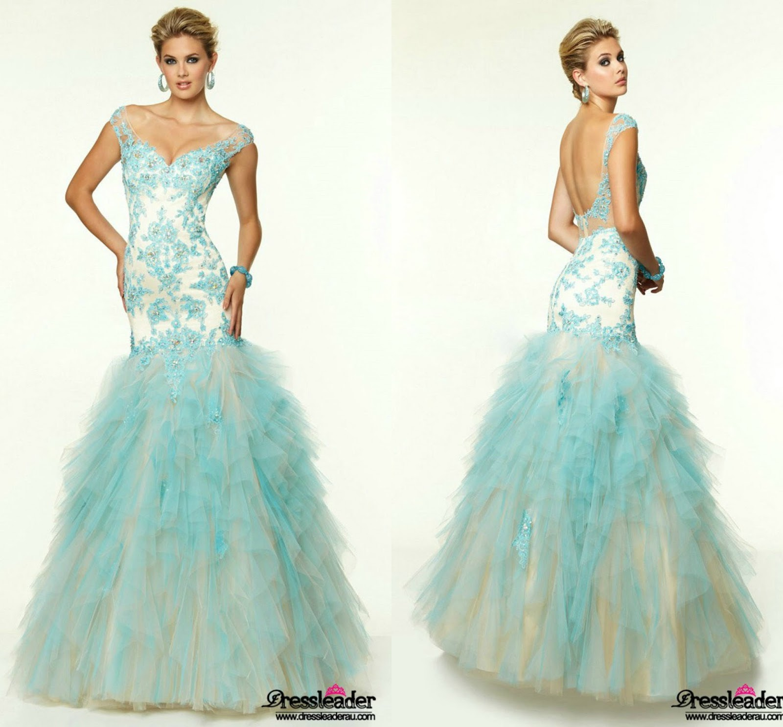 Sexy Backless Tulle Floor Length Blue Off The Shoulder Trumpet Mermaid Formal Dress