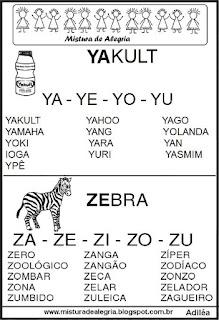 Fichas de leituras letras Y-Z