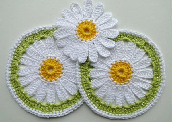 Posavasos Margaritas de Crochet