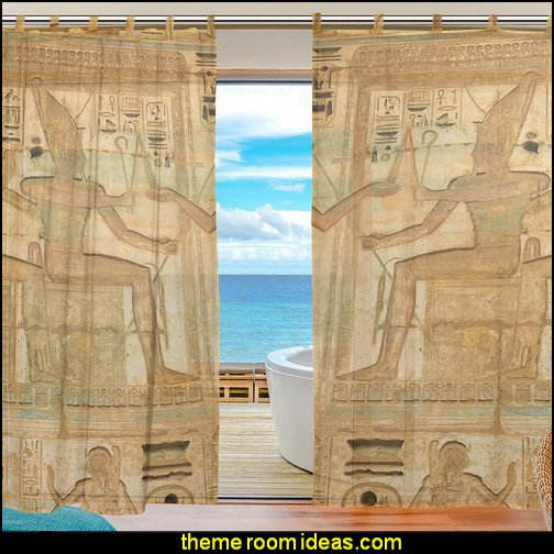 Egyptian Mural Art Pattern curtains   Egyptian theme bedroom decorating ideas - Egyptian decor - Egyptian furniture - Egyptian Themed Home Decor - pyramid wall murals - Egyptian wall decals - Egyptian themed bedding - Egyptian throw pillows -  egyptian themed bedding set - ancient egyptian themed bedding - Egyptian Home decor ideas - Egyptian costumes - Egyptian themed lighting -  Egyptian Queen costume -  Egyptian Pharaoh Costume - Hieroglyphic posters - Egyptian themed rooms