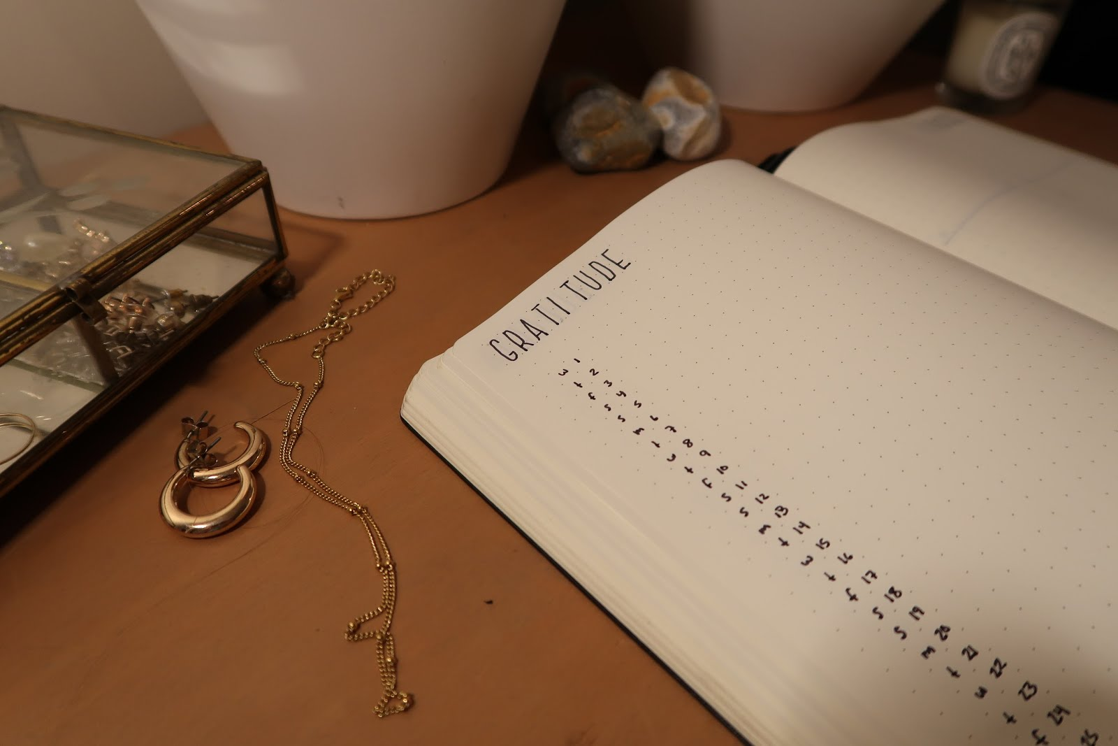 bullet journal bujo planner planning schedule calendar dotted notebook minimal minimalist black and white staedtler triplus fineliner pen gold jewelry box earrings necklace gratitude thankful log mindful positive good thoughts happy happiness