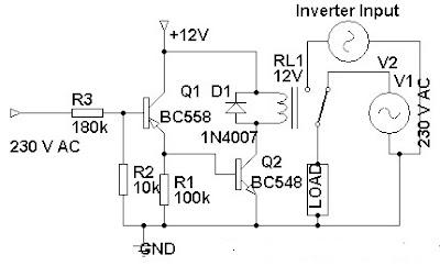 230 Volt AC To Inverter Switching Circuit Diagram