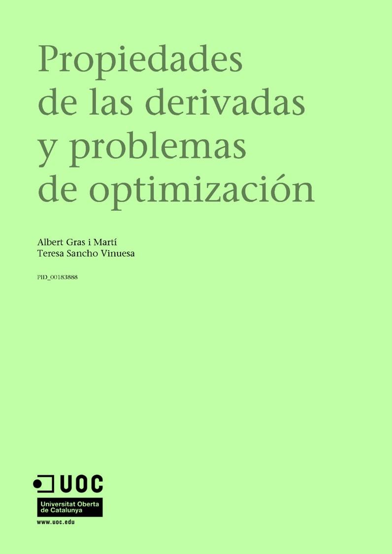 Propiedades de las derivadas y problemas de optimización