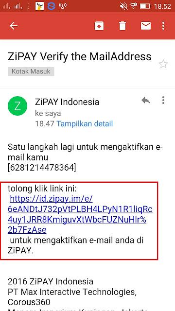 Verifikasi Email Zipay terbaru