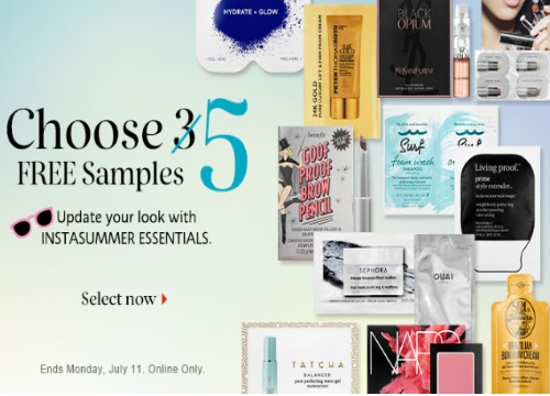 Sephora 5 Free InstaSummer Essentials Samples