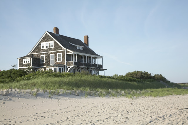 Inspiring image of a beautiful oceanfront beach home exterior in the Hamptons - found on Hello Lovely Studio