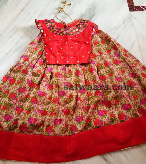 Floral Lehenga Red Mirror Blouse
