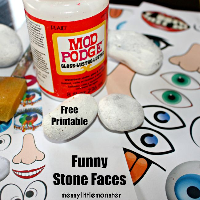 An easy stone / rock / pebble craft for kids.  Make funny faces using these FREE PRINTABLE face parts.  A perfect outdoor activity using nature for summer.