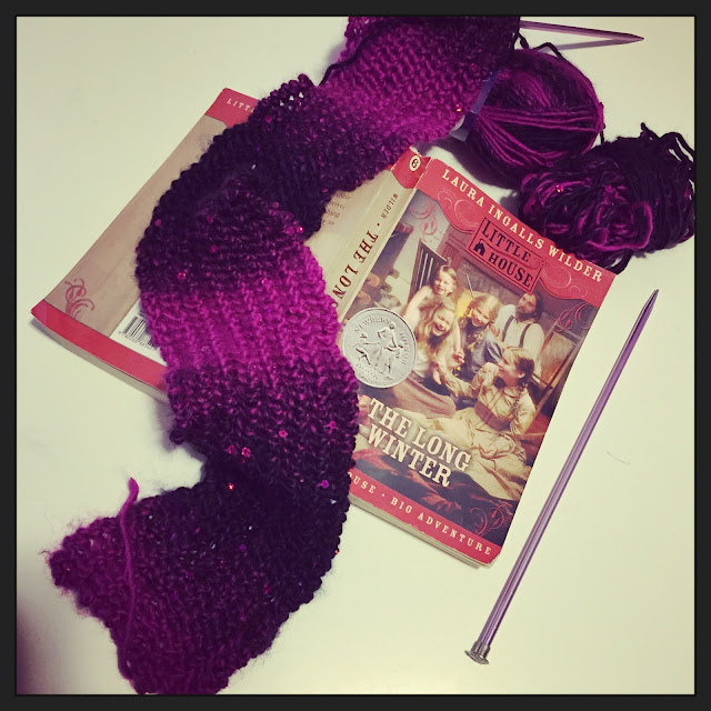 knitting reading yarn along yarnalong