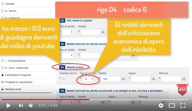 quadro-d4-dichiarazione-compensi-youtube-google