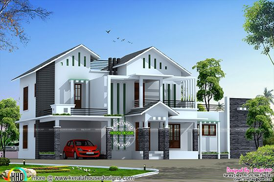 Sloping roof modern home