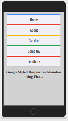 Mobile Version of Google Style Menu bar