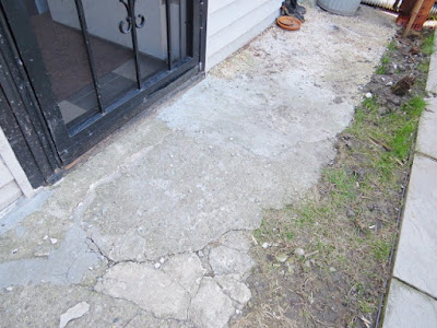 concrete walk broken back door yard