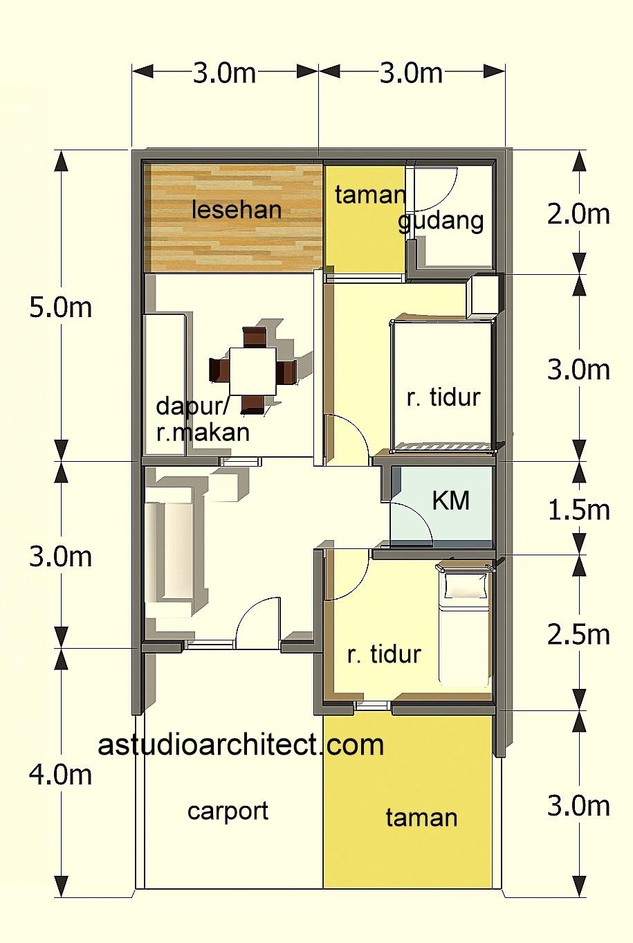 Denah Rumah Type 60 2 Lantai Desain Rumah Minimalis