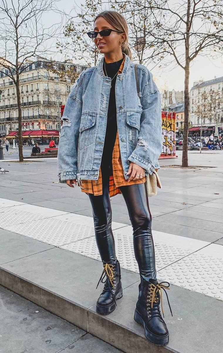 awesome layered outfit to try this winter / denim jacket + plaid shirt + black top + leather pants + boots