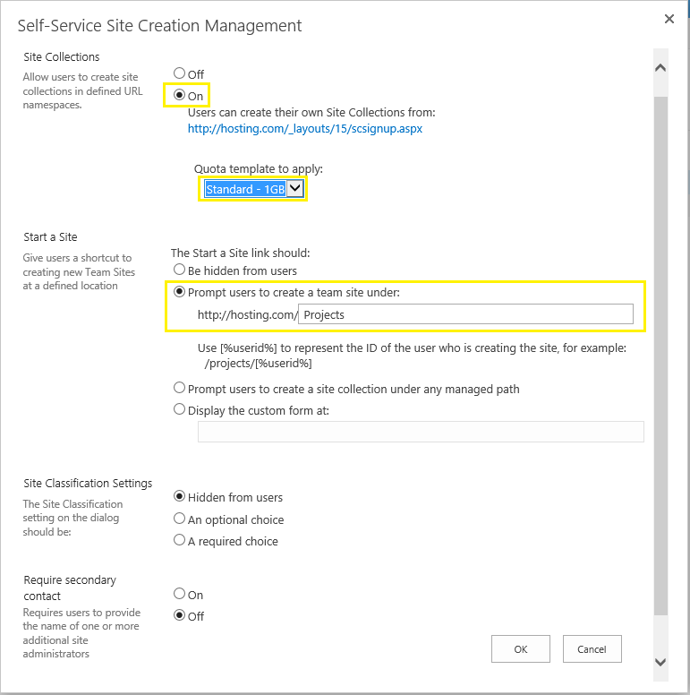 sharepoint self service site creation 2013